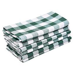 All Cotton and Linen Plaid Napkins - Checked Dinner Napkins - Buffalo Check Napkins - Plaid Napkin - Plaid Dinner Napkins Cloth - Teal Plaid Napkin - Cotton Napkin Set of 6 (18x18), Green/White