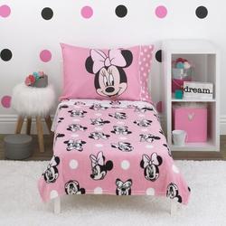 "Disney Minnie Mouse Blushing Minnie 4 Piece Toddler Bedding Set, Polyester in Pink, Size 57""H X 42""W | Wayfair 6388380"