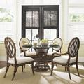 Tommy Bahama Dining Tables - Tommy Bahama Home Bali Hai 5 Piece Dining Set, Wicker/Rattan/Upholstered Chairs/Glass, Brown/Beige/Clear