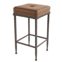 Stone County Ironworks Forest Hill Bar & Counter StoolUpholstered/Leather/Metal/Genuine Leather in Black/Brown, Size 25.0 H x 16.0 W x 16.0 D in
