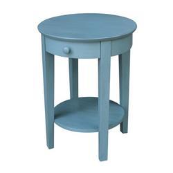 Mistana™ Lynn Solid Wood End Table w/ Storage Wood in Blue, Size 28.0 H x 21.0 W x 21.0 D in | Wayfair 675907FDEDDD4CCFB23BDCE3B0FEE963