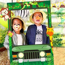 Jungle Safari Photo Booth Frame Safari Zoo Animal Selfie Photo Booth Picture Frame Backdrop for Jungle Themed Birthday Party Baby Shower Favors Decorations Supplies