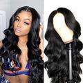 perruque cheveux humain bresilienne curly 360 lace frontal human hair wigs perruque femme vrai cheveux naturels body wave black 16 inch Noir naturel