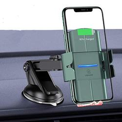 Wireless Car Charger Mount,USAMS 10W Qi Fast Charging Auto-Clamping Mount, Windshield Dash Air Vent Phone Holder for iPhone 11/11 Pro/Pro Max/XS Max/XS/XR/8,Samsung Note 10/S10/S9/S8/,Pixel/LG (Green)