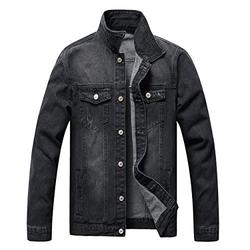 LZLER Jean Jacket for Men, Classic Ripped Slim Denim Jacket with Holes (BlackGray, Small)