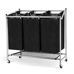 JEFEE Laundry Sorter Cart Laundry Sorter Divided Hamper with Heavy Duty Rolling Wheels, Heavy Duty 3 Bags Waterproof Laundry Sorter Cart for Clothes Storage, Black…