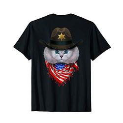 Cute White Tabby Cat in Cowboy Hat and Flag of USA Bandana T-Shirt
