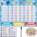 HouseCraft Reward Chart / Chore Chart (Highly Customizable) - Responsibility Chart / Chore Chart for Multiple Kids - A Magnetic Chore chart for Kids with 240 Stars, Eraser, Bag - Includes 10 Chores