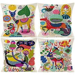 Kids Cartoon Zoom Decorative Throw Pillow Covers Cute Colorful Animal Home Decor Outdoor Cushion Cases for Children Room Sofa Couch 18X18 Set of 4