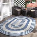 nuLOOM Heidi Multi Striped Indoor/Outdoor Area Rug, 6' x 9' Oval, Blue