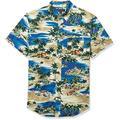 J.Crew Mercantile Men's Slim-fit Short Sleeve Stretch Tropical Printed Shirt (Medium, Sailing Lagoon Blue Multi)