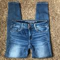 American Eagle Outfitters Jeans | Aeo Sz 026 Skinny Jeans Super Stretch Jegging | Color: Blue/White | Size: 0