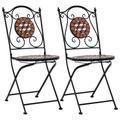 vidaXL Mosaic Bistro Chairs 2 pcs Brown Ceramic