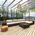 vidaXL 8 Piece Garden Lounge Set with Cushions Poly Rattan Brown