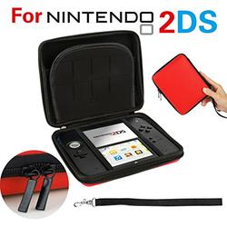 GPCT Nintendo 2DS Hard Shell EVA Carry Case Cover Bag. Protects Against Bumps/Drops/Dust/Dirt/Scratches. Protective Travel Storage Cover Pouch W/ 8 Game Holders, Double Zipper Zip Pocket- Red