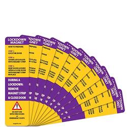 10 Pack - Lockdown Magnetic Strips for School Lockdowns - New and Improved! Durable 40mil Magnetic Strip (Purple)