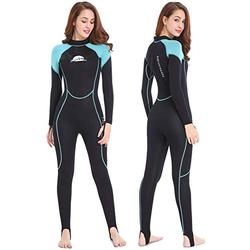 NeopSkin Wetsuits Women Men Youth 2mm Neoprene Wet Suits for Women in Cold Water Full Body Dive Suit for Diving Snorkeling Surfing Swimming Canoeing (Women's Black/Aquamarine, Women's Small)