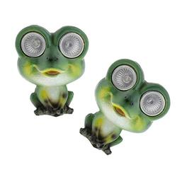 Fityle 2 Pieces Resin Green Frog Statue, Solar Outdoor LED Light Eyes Animal Statue for Garden, Patio, Lawn, and Yard Décor