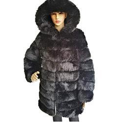 Womens 7XL Plus Size long sleeves Thick Faux Fur Coat Jacket Big Hooded Parka Long Overcat Winter Furs Coats Jackets (5XL, Black)