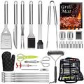 HaSteeL 32 PCS Grilling Accessories BBQ Grill Set, Stainless Steel Grill Tools with Storage Bag, Complete Grilling Utensil Kit for Backyard Outdoor Barbecue Camping, A Grilling Gift for Men & Women