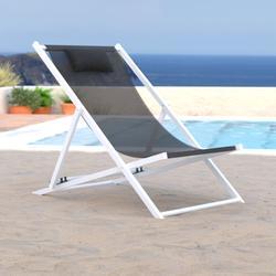 Sunset Outdoor Sling Lounge Chair w/ Headrest - LeisureMod SLC22BL