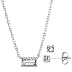 """""""Brilliance Baguette Cut Pendant Necklace & Stud Earring Set with Swarovski Crystals, Women's, Size: 18"""""""", White"""""""