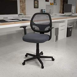 Flash Furniture Flash Fundamentals Mid-Back Gray Mesh Swivel Ergonomic Task Office Chair with Arms