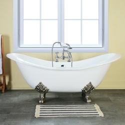"Kingston Brass Aqua Eden 61"" x 30"" Clawfoot Soaking Cast Iron Bathtub Cast Iron in Gray/White, Size 27.94 H x 61.0 W x 30.13 D in | Wayfair"