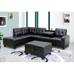 """Ebern Designs Moison 110"""" Wide Faux Leather Left Hand Facing Corner Sectional Faux Leather/Leather in Black, Size 38.0 H x 110.0 W x 81.0 D in"""