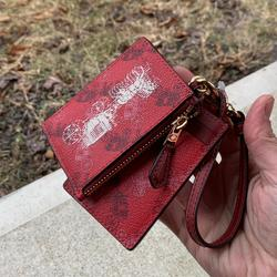 Coach Accessories | Authentic Coach Leather Lanyard & Card Caseid Set | Color: Gold/Red | Size: Lanyard: 4l X 2.75h- Card Same