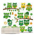 6 Pieces Square Ceramic Drink Coasters with Cork Base, Absorbent Ceramic Stone Coaster Set with,St. Patrick's Day Irish Owls with Leprechaun Hats on Trees