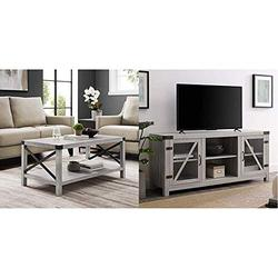 """Walker Edison Furniture Company Rustic Modern Farmhouse Metal and Wood Rectangle Accent Coffee Table with Barn Glass Door Wood Universal TV Stand for TV's up to 64"""" Flat Screen"""