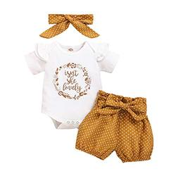 Infant Baby Girl Clothes Short Sleeve Romper Newborn Clothes Bodysuit Floral Short Pants Set Cute Isn't She Lovely Baby Girl Outfits 0-3 Months White
