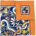 Dolce & Gabbana Silk Foulard With Maiolica Print On A Blue Background