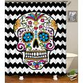 Sugar Skull Shower Curtain Set with Hooks Mexican Skull Chervon Black White Zigzag Colorful Flowers Crucifix Lady Skull Decor Bathroom Waterproof Polyester Fabric Bathroom Accessories Bath Curtain