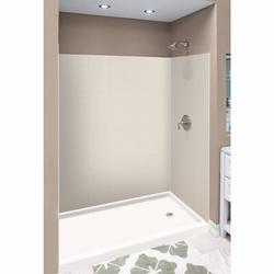 """Transolid Expressions 60"""" W x 32"""" D 3 Panel Shower Wall w/ Silicone Adhesive Tube Solid Surface, Size 72.0 H x 60.0 W x 32.0 D in 