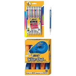 BIC Xtra-Sparkle Mechanical Pencil, Medium Point (0.7 mm), 24-Count and EZ Correct Correction Tape, White, 10-Count
