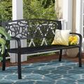 Charlton Home® Pruden Cast Iron Garden BenchMetal in Black, Size 33.5 H x 49.0 W x 23.6 D in   Wayfair CHRL7266 42673611