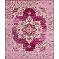 Bungalow Rose Risette Oriental Power Loom Pink Area Rug Polypropylene in Brown/Pink, Size 120.0 H x 96.0 W x 0.25 D in | Wayfair