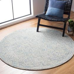 George Oliver Cave Spring Geometric Handmade Tufted Wool Gray/Navy Area Rug Wool in Blue, Size 60.0 H x 60.0 W x 0.28 D in   Wayfair