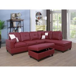 """Ebern Designs Prunedale 74.5"""" Wide Faux Leather Corner Sectional w/ Ottoman Faux Leather/Leather in Red, Size 35.0 H x 74.5 W x 32.0 D in   Wayfair"""