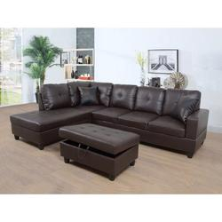 """Ebern Designs Prunedale 74.5"""" Wide Faux Leather Corner Sectional w/ Ottoman Faux Leather/Leather in Brown   Wayfair"""