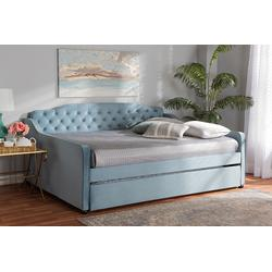 Baxton Studio Freda Transitional & Contemporary Light Blue Velvet Fabric & Button Tufted Queen Size Daybed /w Trundle - Wholesale Interiors Freda-Light Blue Velvet-Daybed-Q/T