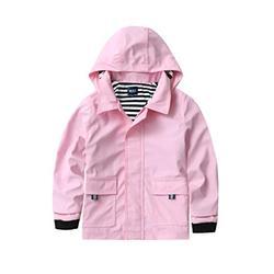 M2C Girls Hooded Waterproof Rain Jacket Cotton Lined Windbreaker 7/8 Light Pink