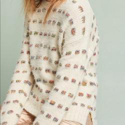 Anthropologie Sweaters   Anthropologie Sweater W Metallic Thread   Color: Cream/Silver   Size: S