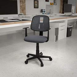 Flash Furniture Flash Fundamentals Mid-Back Gray Mesh Swivel Task Office Chair with Pivot Back and Arms