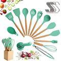 Ensemble d'ustensiles de cuisine avec tête en silicone, poignée en bois et récipient en bois (23 pièces + crochets suspendus en prime) - Ensemble ustensiles d'Outils de cuisine – Vert