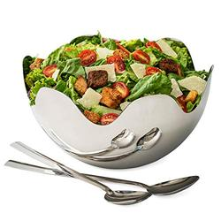"""Stainless Steel Salad Bowl - Wave Serving Bowl with Serving Utensils - Modern 10"""" Silver Serving Dish - By Colleta Home"""