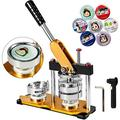 VEVOR Button Maker 1inch Rotate Button Maker Yellow Rotate Button Badge Maker Machine 25mm with 100 Sets Circle Button Parts for Friends(25mm 1inch)
