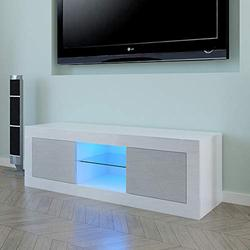 """Binrrio Modern TV Stand with LED Lights, High Gloss TV Unit Cabinet up to 49"""" TV, Television Stand Entertainment Center Storage Console Table for Home Living Room Furniture, White&Grey"""
